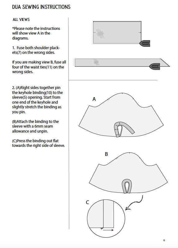 Dua Dress Sewing Pattern Instruction Sample