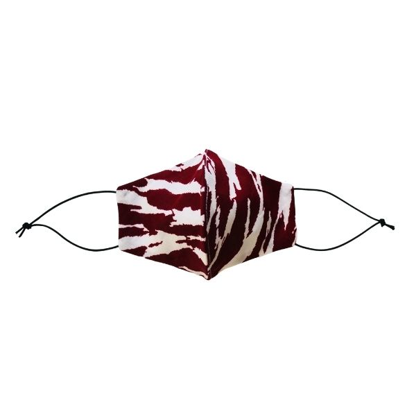 Face mask maroon/white zebra front view