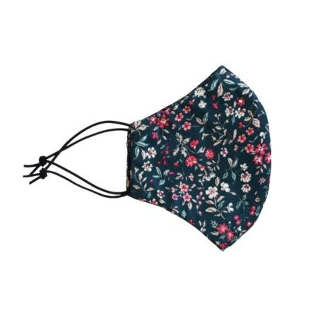 cotton face mask navy/floral print side view