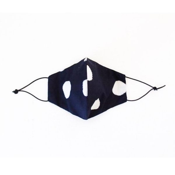 Face mask navy/white polka dot front view