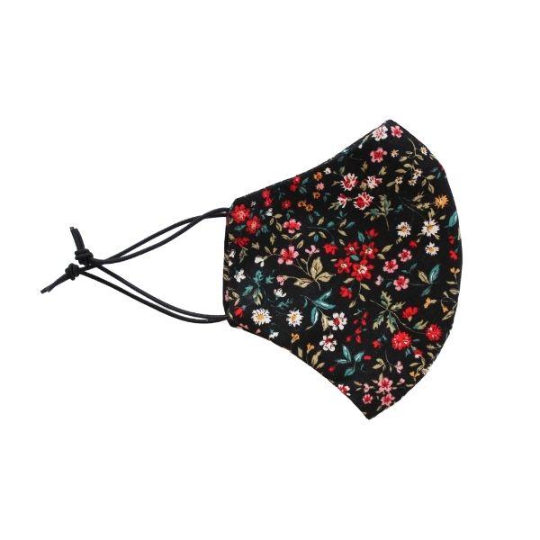 black/red floral mask side image
