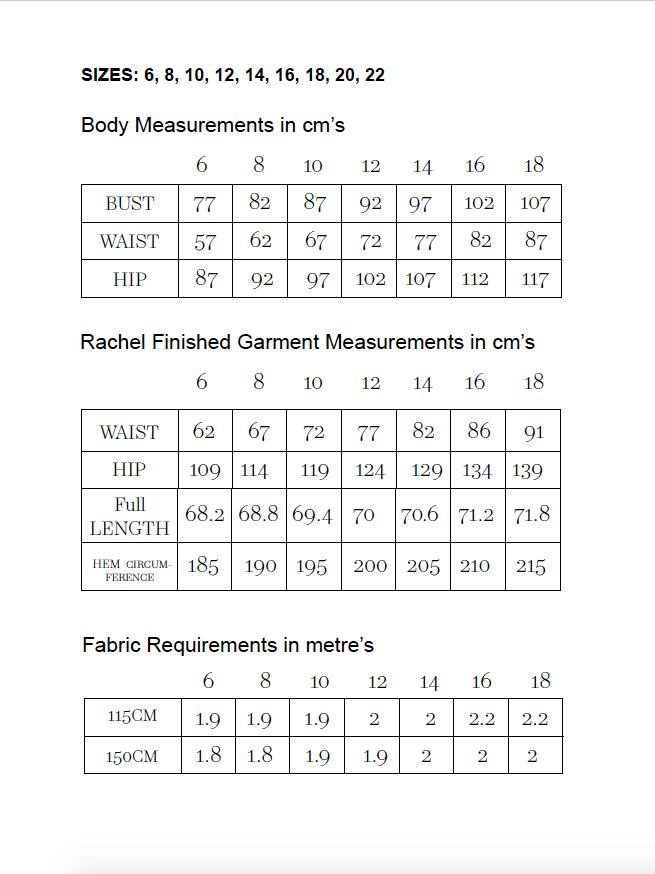 rachel bias skirt size chart
