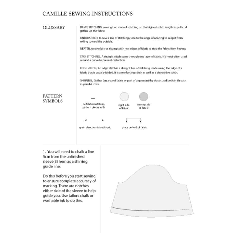 Camille Top sewing instructions sample