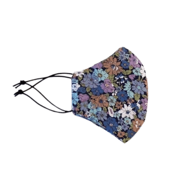 blue/floral face mask side view