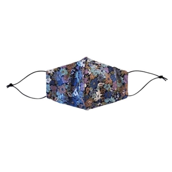 blue/floral face mask front view