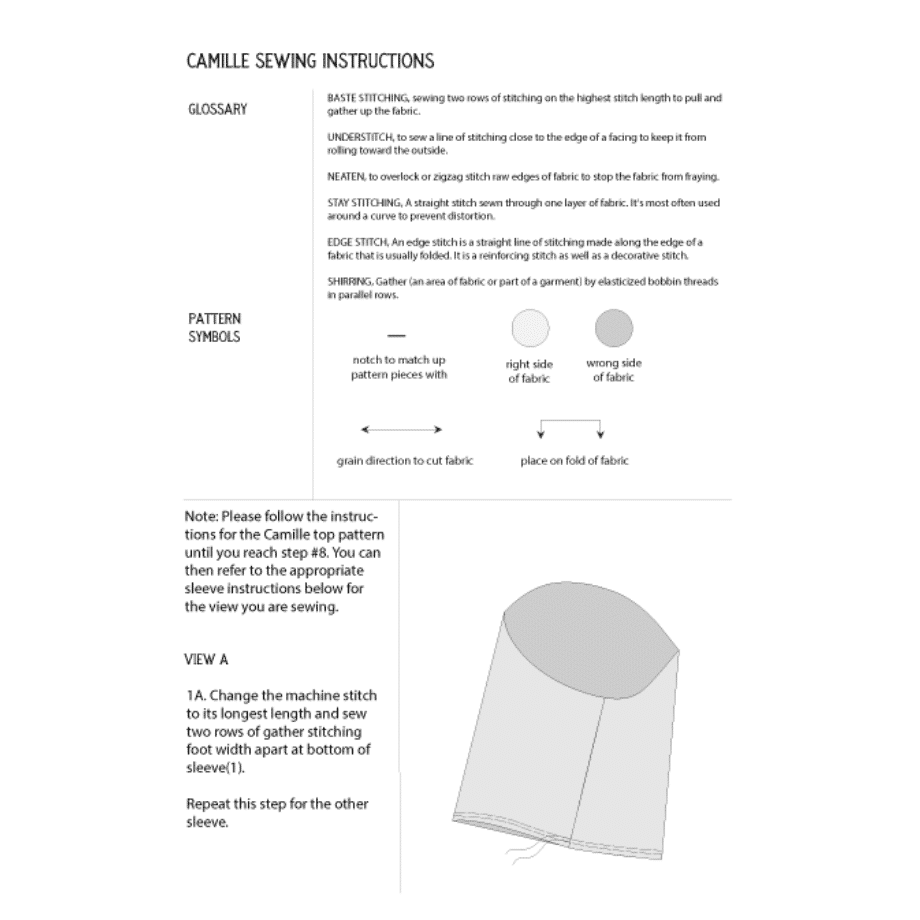 Camille Top Sleeve Pack Pattern Preview