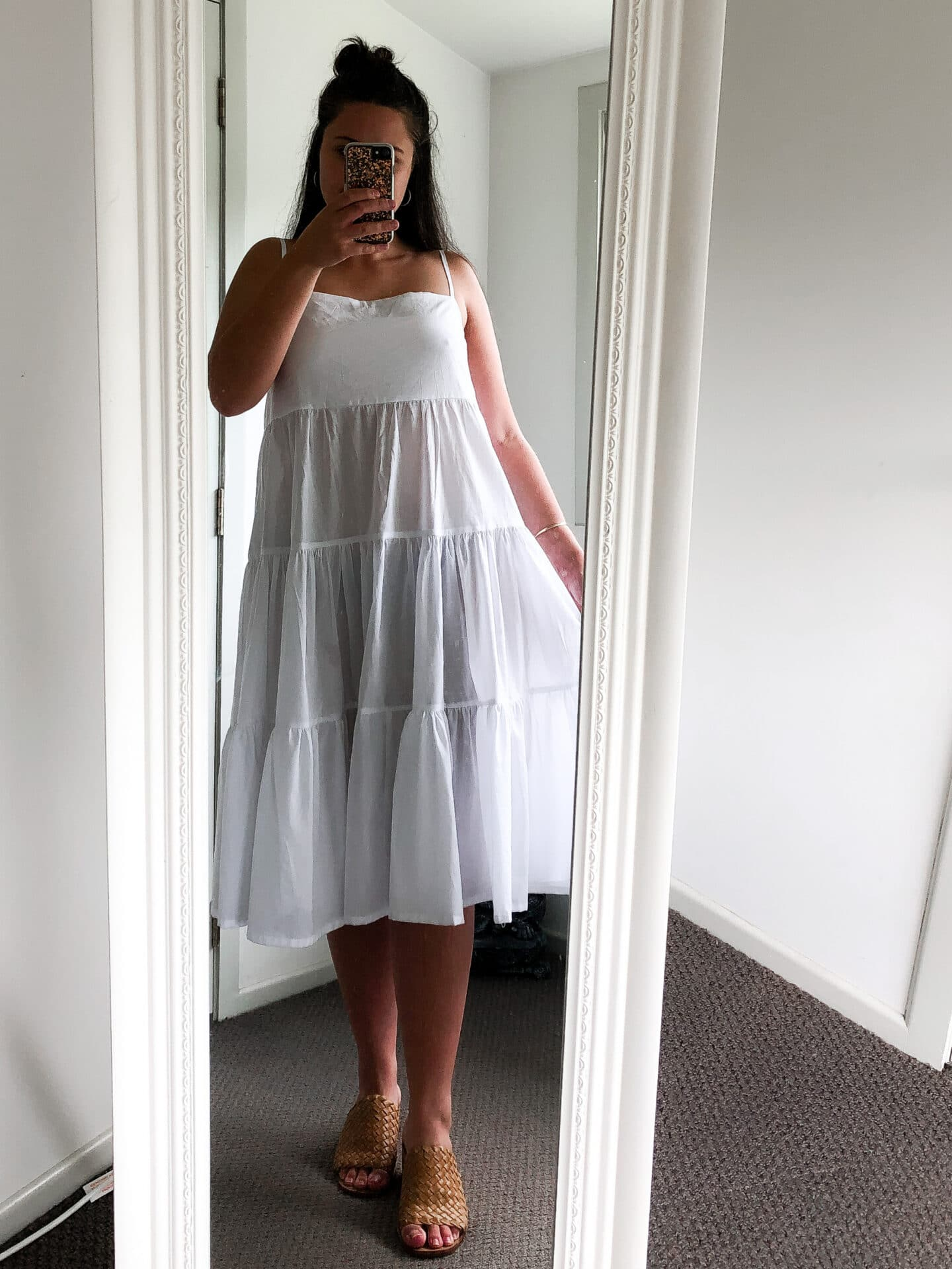 makyla wearing white cotton tiered maxi dress in vintage mirror styles with st agni heels.