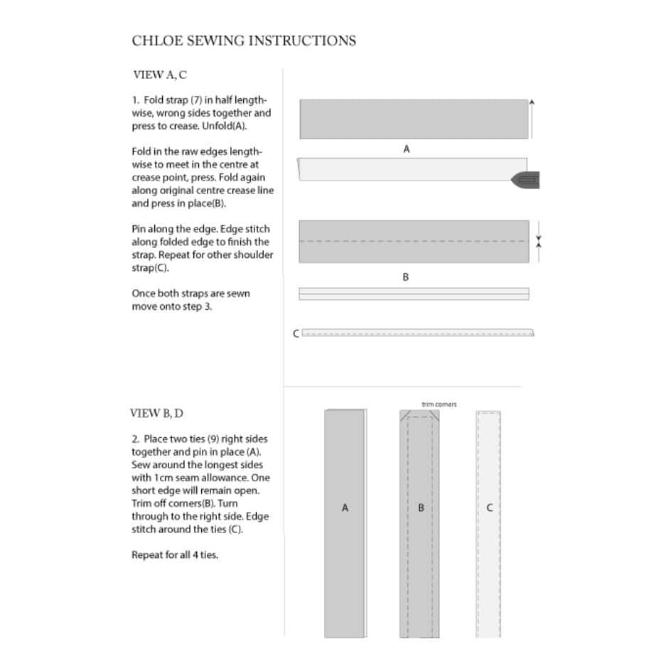 Chloe dress sewing instructions example