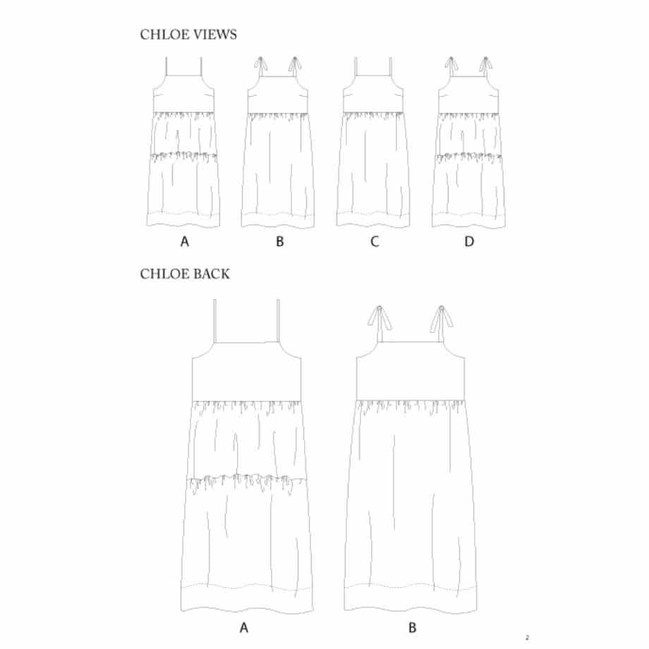 Chloe maxi dress technical drawing views