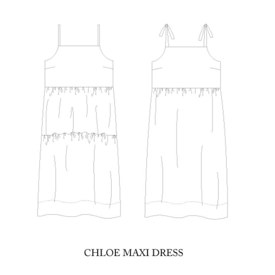 Chloe maxi dress technical drawing