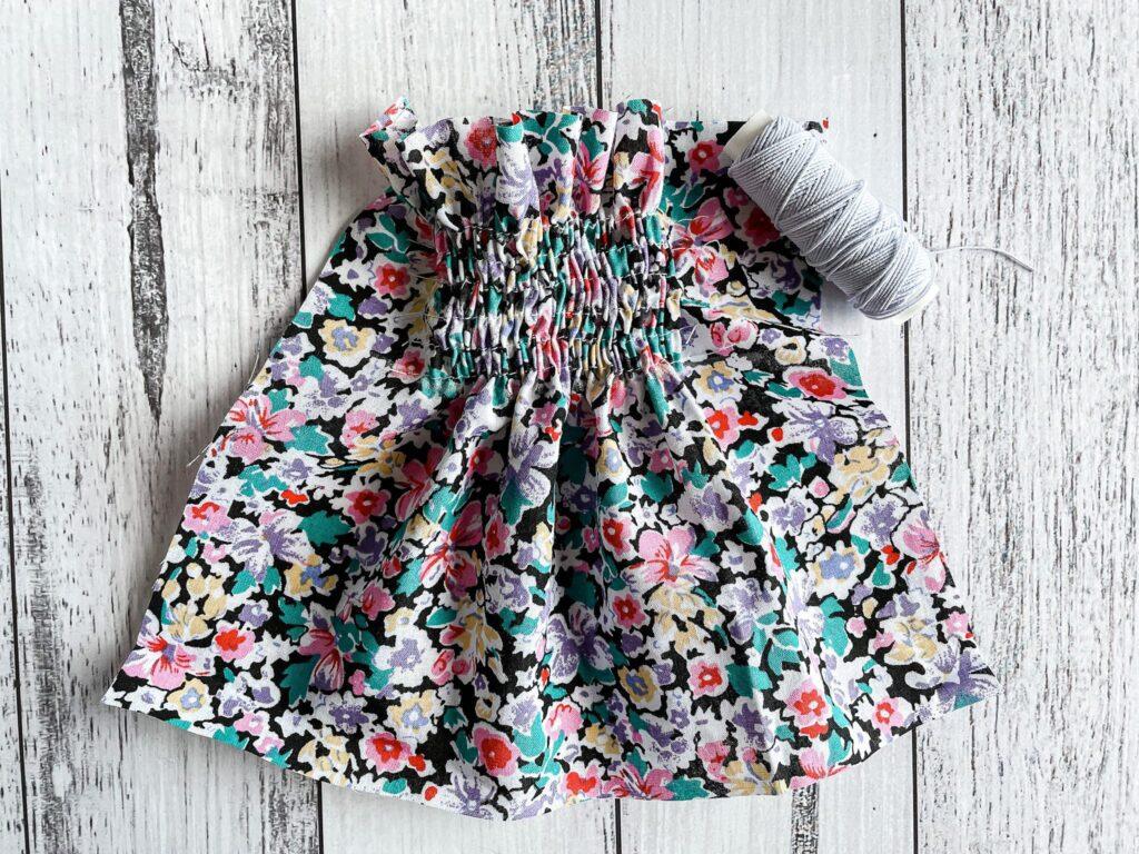 Shirring fabric with elastic thread