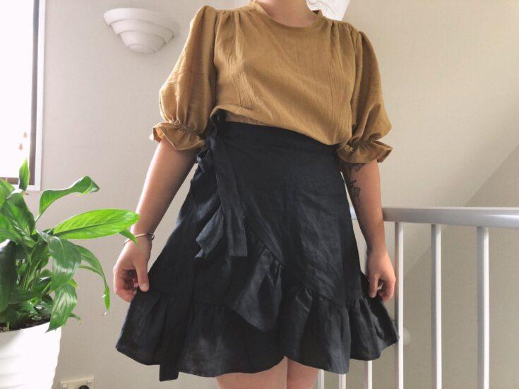 makyla wearing a wrap skirt