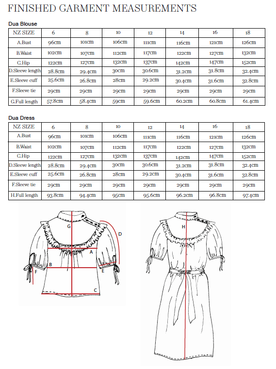 Dua Blouse & Dress Finished Garment Measurements