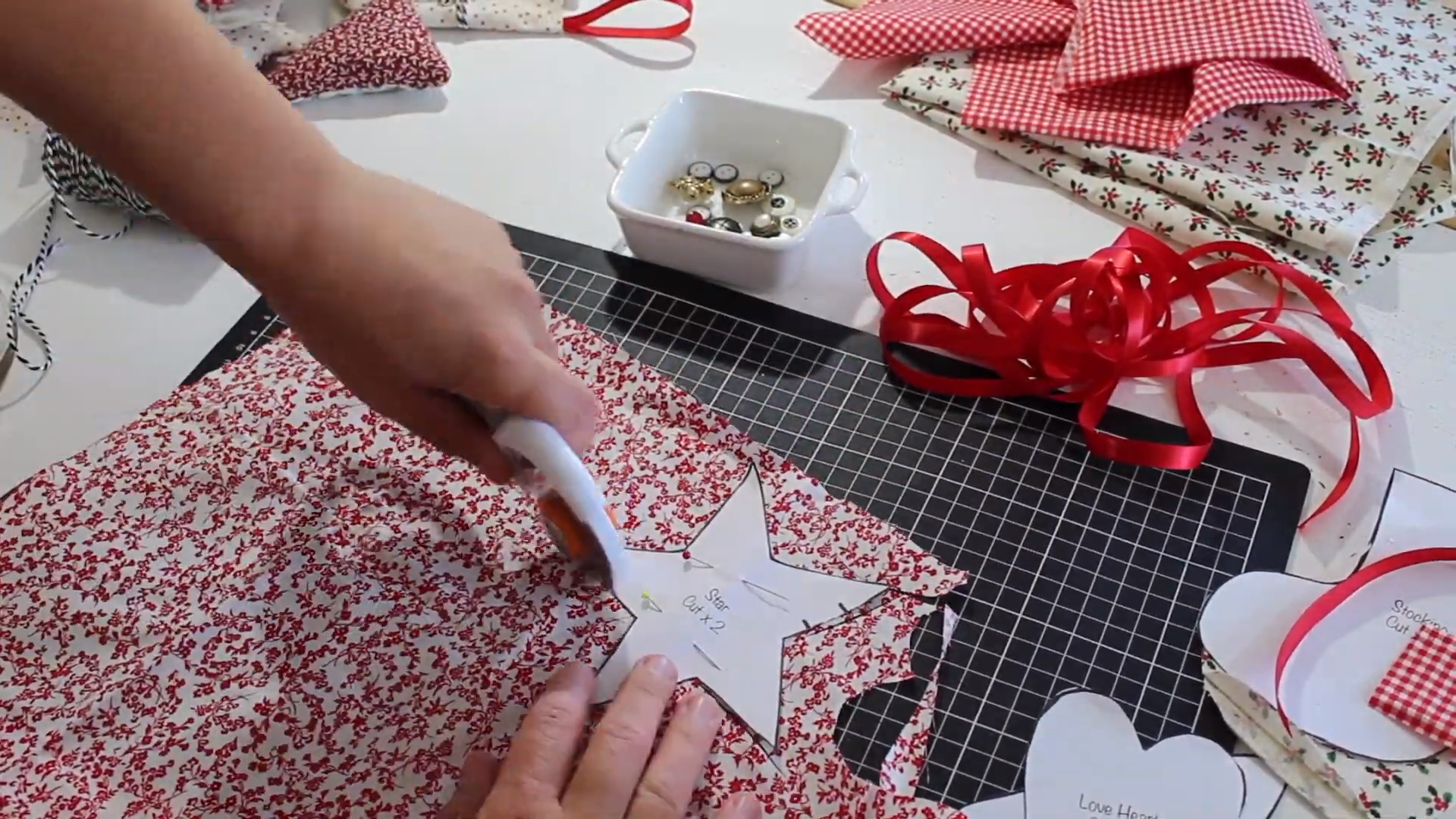 cutting out decorations with pattern templates