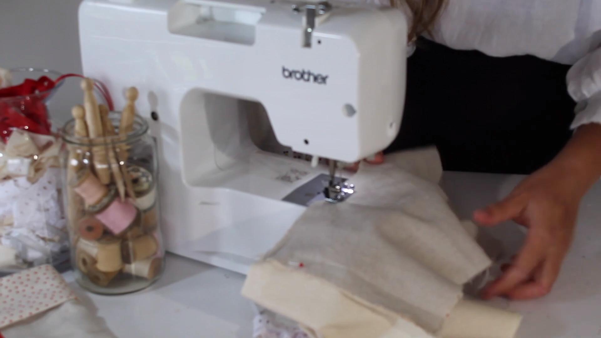 sewing around the stocking