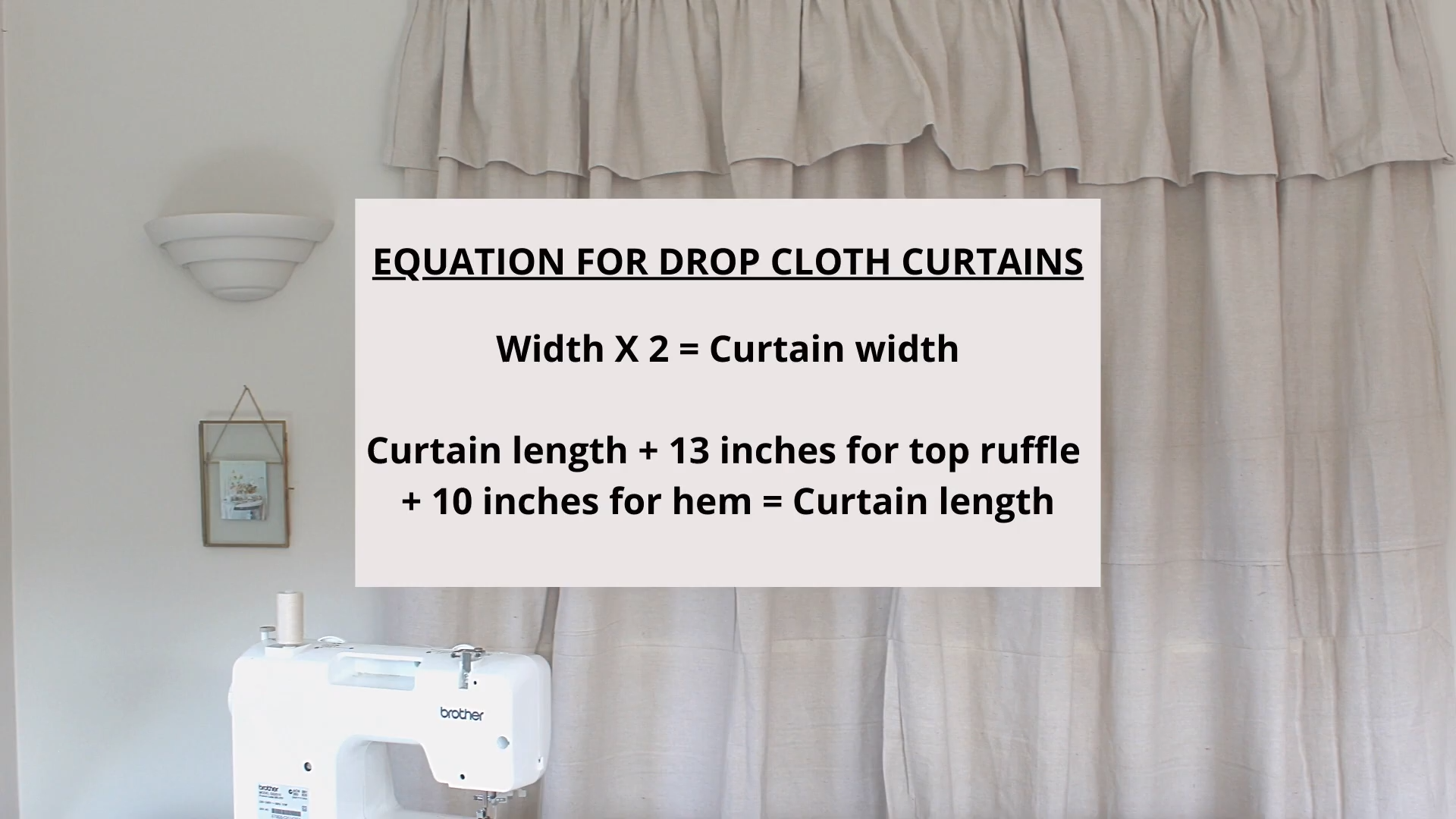 How to Make Farmhouse Inspired Curtains using a drop cloth measurement guide