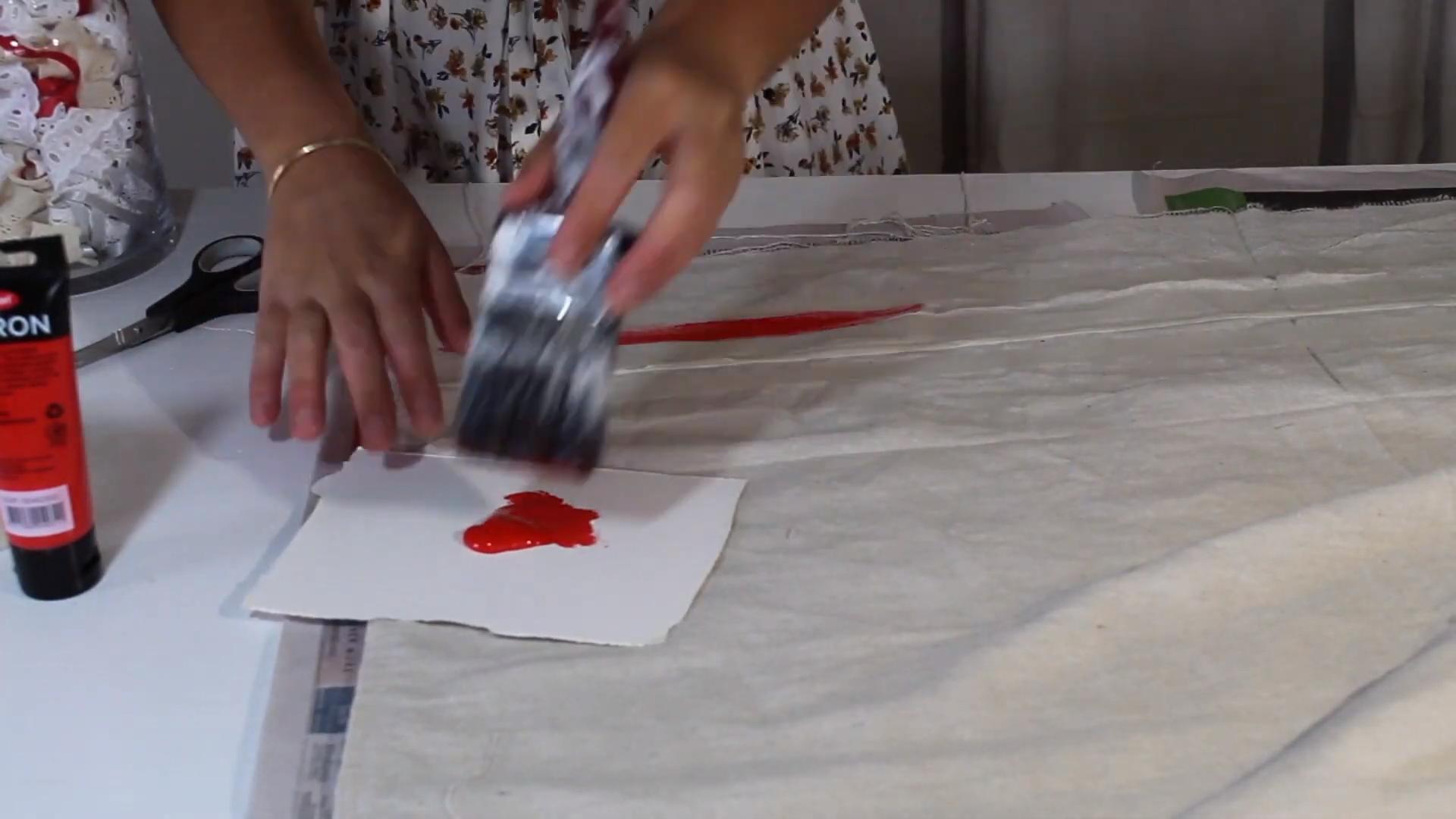 painting grain sack fabric
