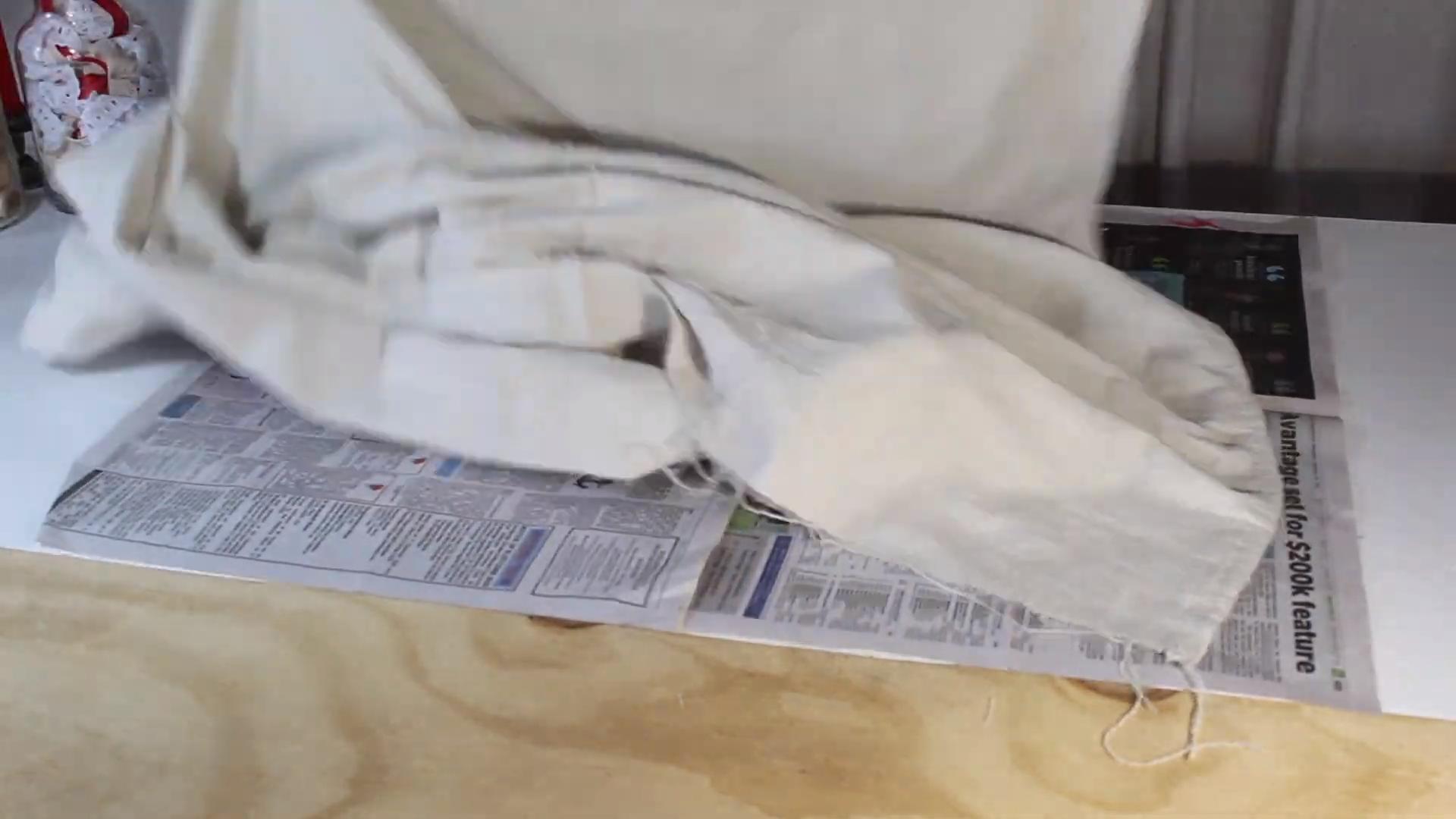 laying up grain sack fabric