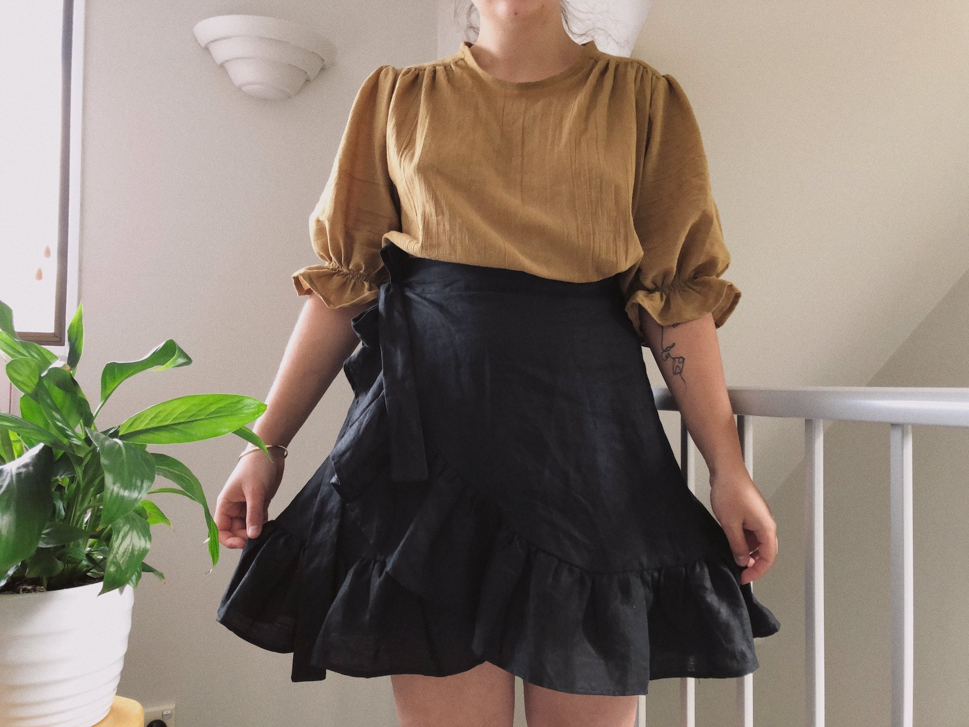 diy linen wrap skirt detail
